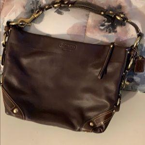 Coach brown leather shoulder bag. Excellent cond.